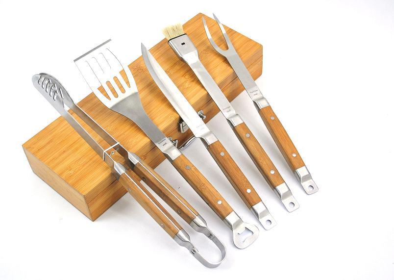 new 5 pcs bamboo bbq tools - Grilling Tools